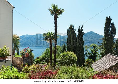 beautiful garden and panoramic view in a sunny summer day