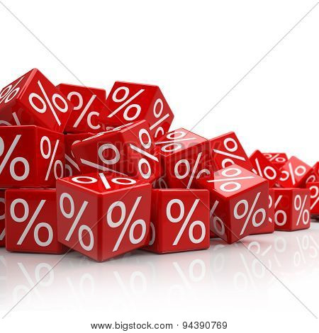 Falling Red Cubes With Percent Signs