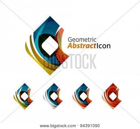 Set of abstract geometric company logo.illustration of universal shape concept made of various wave overlapping elements