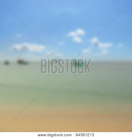 summer beach background  soft focus ocean view , blue sky and boats