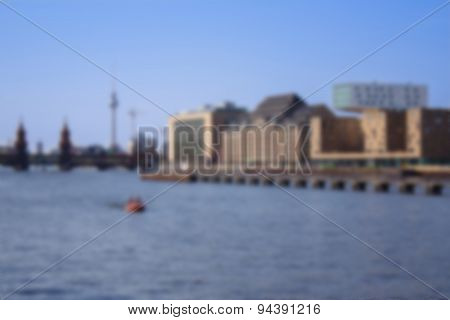 berlin skyline soft focus background - river spree, oberbaum bridge and tv tower river spree