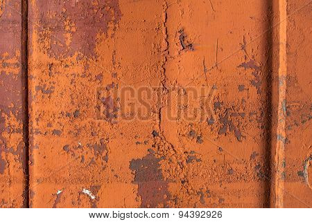 chipped paint on corrugated metal siding background