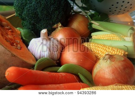 Pile of Vegetables for Cooking as Background