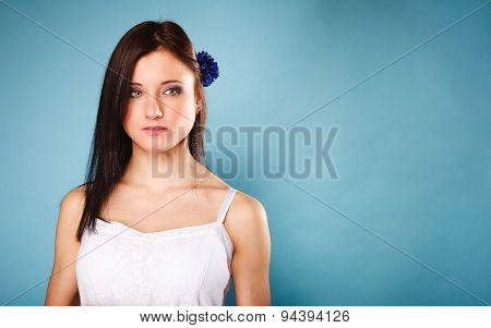 Portrait Of Beautiful Girl In Summer Style