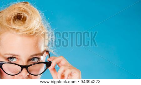 Woman Wearing Eyeglasses.