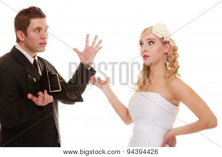 Couple Groom And Bride With Empty Purse, Conflict.