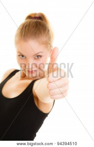 Fitness Sport Woman Thumb Up Sign Hand Gesture.