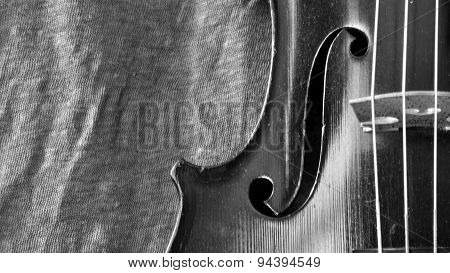 Antique Violin And Linen Black And White Closeup