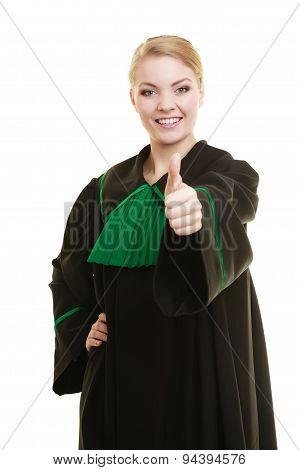 Woman Lawyer Making Ok Sign Thumb Up Hand Sign