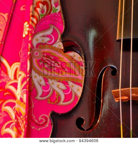 Hot Pink And Antique Violin Square
