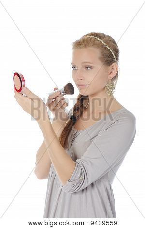 Portrait Of A Beautiful Woman With A Powder And Brush
