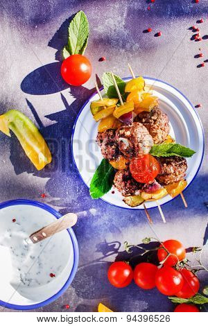 grilled meatballs with vegetables