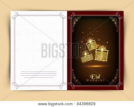 Elegant greeting card with golden floral design decorated gifts for Muslim community festival, Eid Mubarak celebration.