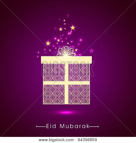 Beautiful floral design decorated wrapped gift box on stars decorated shiny purple background for Islamic holy festival, Eid Mubarak celebration.