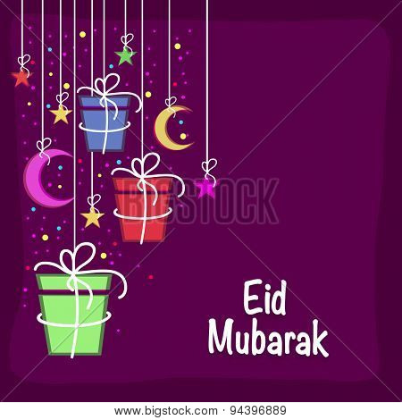 Beautiful greeting card design with hanging colorful gifts, crescent moons and stars on purple background for Muslim community festival celebration.