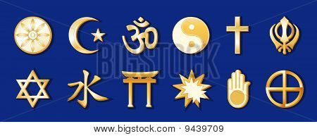 World Religions, Blue Background