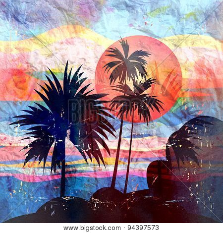 Graphics Tropical Landscape With Palm Trees