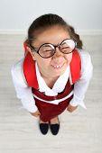 image of schoolgirls  - Beautiful little funny schoolgirl - JPG