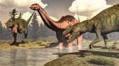 foto of apatosaurus  - Two allosaurus hunting big brontosaurus - JPG