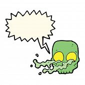 foto of grossed out  - cartoon gross skull with speech bubble - JPG