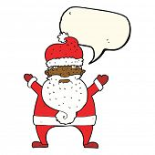 stock photo of ugly  - cartoon ugly santa claus with speech bubble - JPG