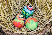image of dry grass  - Easter Eggs With Bright Drawing In A Nest From A Dry Grass - JPG