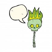 pic of spooky  - cartoon spooky skull and spine with speech bubble - JPG