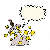 image of arthurian  - cartoon magical sword in stone with speech bubble - JPG