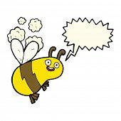 picture of bee cartoon  - funny cartoon bee with speech bubble - JPG