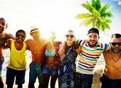 foto of bonding  - Diverse People Friends Fun Bonding Beach Summer Concept - JPG