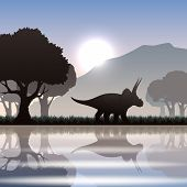 foto of dinosaur skeleton  - Triceratops dinosaur silhouette in scenic landscape with lake mountain and giant trees vector illustration - JPG