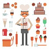 stock photo of cake-mixer  - Confectioner man with cakes and pies ice cream and tools or accessories flat color concept vector illustration - JPG