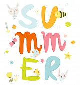foto of seasons greetings  - Greeting card with vector Summer typographic and cute party elements flowers - JPG