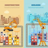 picture of construction machine  - Construction and building vertical banner set with flat houses and machines isolated vector illustration - JPG