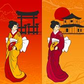 pic of geisha  - Geisha banner vertical set with traditional japanese symbols on background isolated vector illustration - JPG