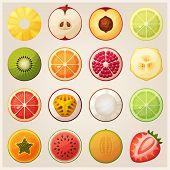 pic of watermelon slices  - Set of fruit halves - JPG