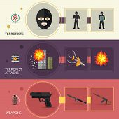 pic of terrorist  - Terrorism horizontal banners set with terrorist weapons and attacks flat elements isolated vector illustration - JPG