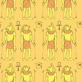 pic of anubis  - Sketch Egyptian gods in vintage style vector seamless pattern - JPG