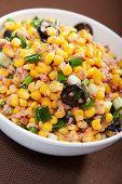 foto of sweet-corn  - Tuna salad with sweet corn and black olives - JPG