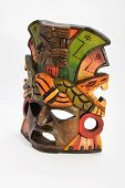 stock photo of anaconda  - Indian Mayan Aztec wooden mask with anaconda and jaguar isolated on white background - JPG
