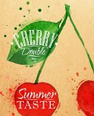 foto of cherry  - Poster watercolor cherry lettering cherry double summer taste drawing on kraft - JPG