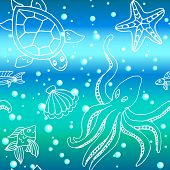 image of octopus  - Hand drawn seamless pattern with different sea creatures - JPG