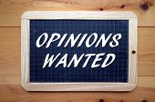 picture of wane  - The phrase Opinions Waned in white text on a slate blackboard - JPG