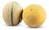 foto of cantaloupe  - Ripe Melon Cantaloupe Galia isolated on white background - JPG
