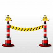 stock photo of safety barrier  - Barrier tape and posts - JPG