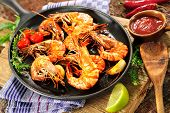 foto of tiger prawn  - Fried king prawns on iron pan - JPG