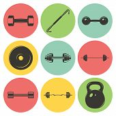 pic of weight lifter  - Set of sign weights for fitness or gym icons - JPG