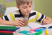 picture of homework  - Smart kid doing homework and drinking cocoa - JPG