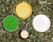pic of scrubs  - Different natural beauty products in green leaves - JPG