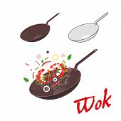 picture of chinese wok  - Wok illustration - JPG